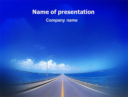 Highway In A Blue Distance PowerPoint Template
