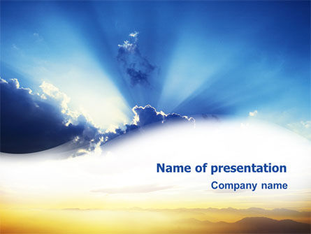 Religious/Spiritual: Blue Sky With Sunbeams PowerPoint Template #02216