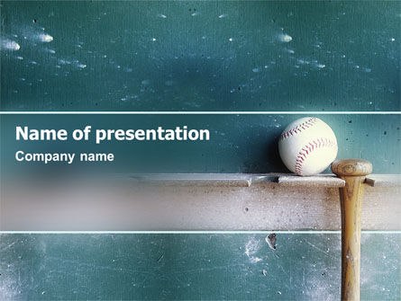 Sports: Baseball Ball And Bat PowerPoint Template #02220