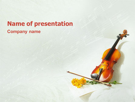 Art & Entertainment: Violin And Yellow Flowers PowerPoint Template #02225