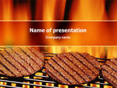 Food & Beverage: Burgers On Grill PowerPoint Template #02237