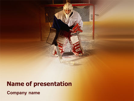 Sports: Ice Hockey Goalkeeper PowerPoint Template #02255