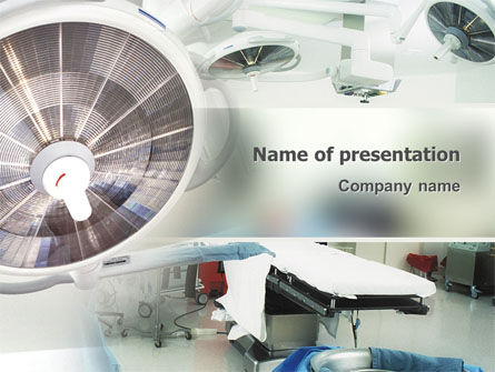 Medical: Operating Room In Aqua Gray Colors PowerPoint Template #02259