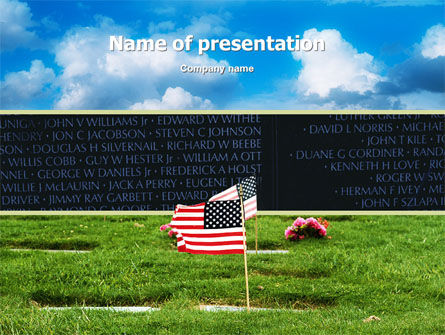 Holiday/Special Occasion: American Flag In Memorial Day Free PowerPoint Template #02281