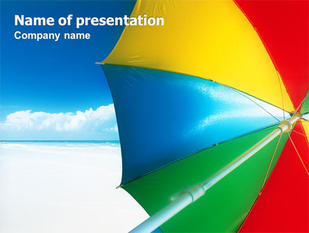 Holiday/Special Occasion: Umbrella on the Beach PowerPoint Template #02298