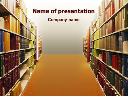 Library Book Shelves PowerPoint Template, 02303, Education & Training — PoweredTemplate.com