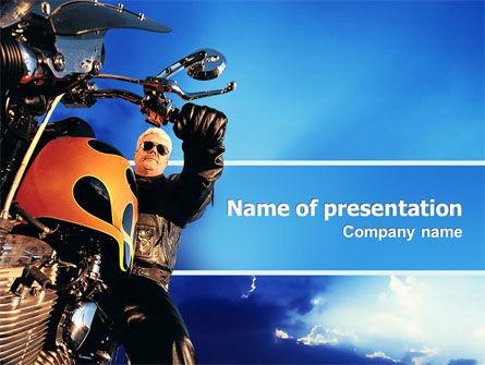 Cars and Transportation: Modello PowerPoint - Biker #02315