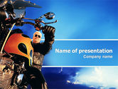 Cars and Transportation: Modelo do PowerPoint - motociclista #02315