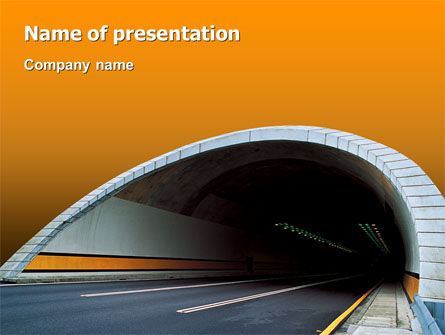 Tunnel On An Orange Background PowerPoint Template, 02320, Construction — PoweredTemplate.com