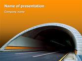 Construction: Tunnel auf einem orangefarbenen hintergrund PowerPoint Vorlage #02320
