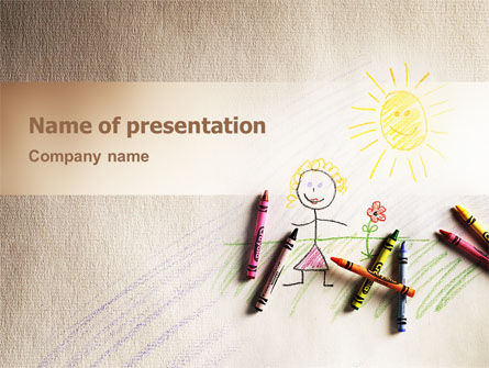 Childish Drawing PowerPoint Template, 02322, Education & Training — PoweredTemplate.com