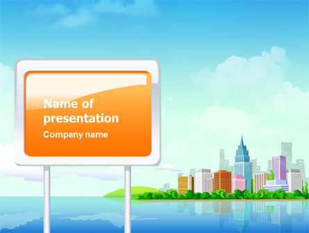 City At The Sea PowerPoint Template, 02348, Business — PoweredTemplate.com