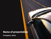Cars and Transportation: Car On Highway PowerPoint Template #02358
