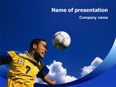 Sports: Head In Soccer PowerPoint Template #02365