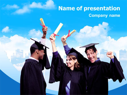 People: Graduators With Diploma PowerPoint Template #02376