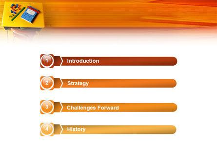 School Desk PowerPoint Template, Slide 3, 02395, Education & Training — PoweredTemplate.com