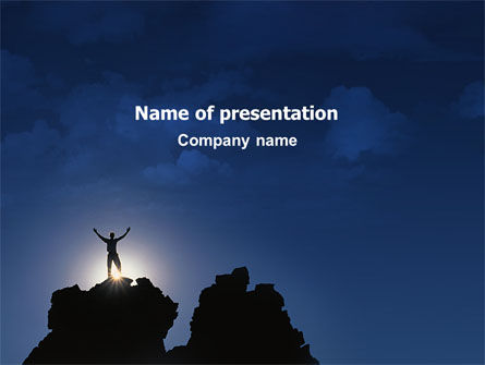 Nature & Environment: Climber On The Top PowerPoint Template #02422