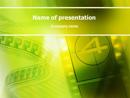 Art & Entertainment: Film Strip In Light Yellow Green Colors PowerPoint Template #02426