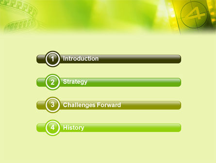 Film Strip In Light Yellow Green Colors PowerPoint Template Slide 3