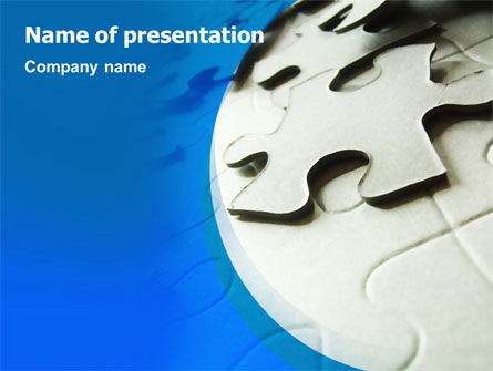 Business Concepts: Gray Puzzle In A Blue Crescent PowerPoint Template #02451