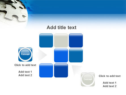 Gray Puzzle In A Blue Crescent PowerPoint Template Slide 16