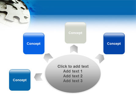 Gray Puzzle In A Blue Crescent PowerPoint Template Slide 7