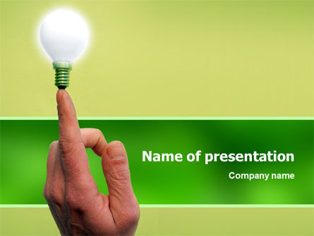 Lamp on Finger PowerPoint Template, 02453, Business Concepts — PoweredTemplate.com