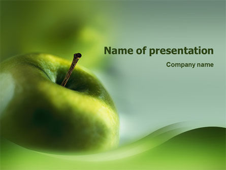 Green Apple On The Light Blue Background PowerPoint Template, 02496, Food & Beverage — PoweredTemplate.com