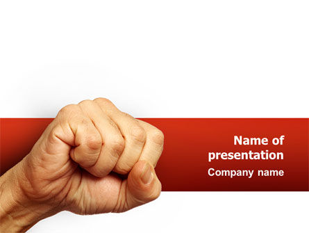 Fist Of Fury PowerPoint Template, 02497, Business Concepts — PoweredTemplate.com
