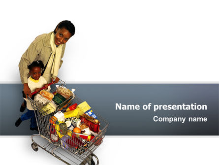 People: Mom And Daughter Shopping Cart PowerPoint Template #02502