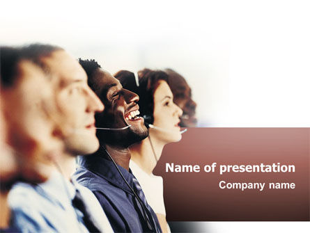 People: Call Center In Brown Palette PowerPoint Template #02567