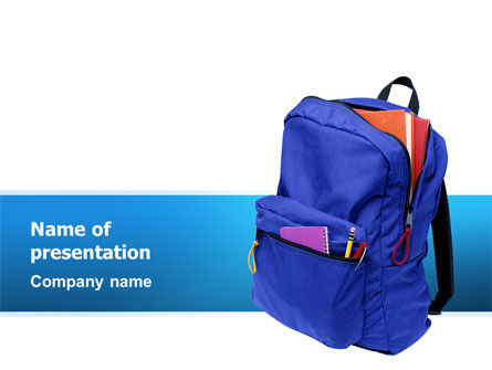 School Backpack PowerPoint Template, 02577, Education & Training — PoweredTemplate.com