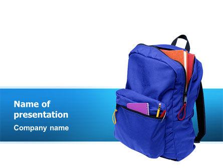 Education & Training: Modèle PowerPoint de sac à dos scolaire #02577