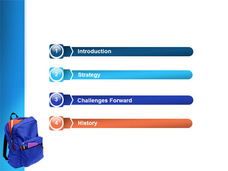 School Backpack PowerPoint Template, Slide 3, 02577, Education & Training — PoweredTemplate.com