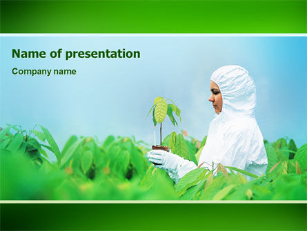 Green Plant Breeding PowerPoint Template, 02586, Technology and Science — PoweredTemplate.com