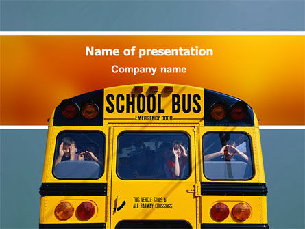 Education & Training: School Bus Aft PowerPoint Template #02587