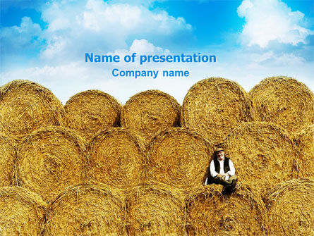 Agriculture: Rolls Of Hay PowerPoint Template #02611