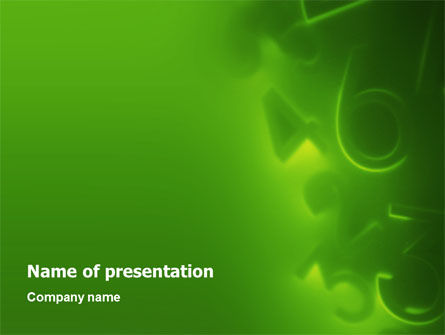 Financial/Accounting: Green Numbers PowerPoint Template #02628