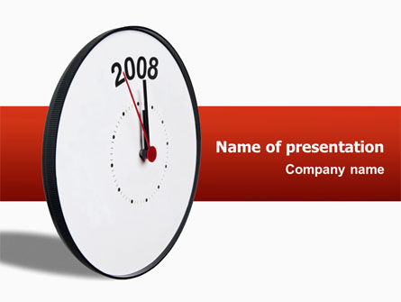 Year 2008 with Clockface PowerPoint Template, 02640, Business Concepts — PoweredTemplate.com