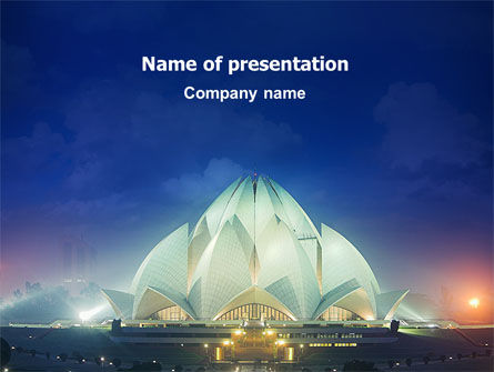 Lotus Temple PowerPoint Template, 02662, Flags/International — PoweredTemplate.com