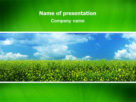 Green Field In A Sunny Day PowerPoint Template, 02663, Nature & Environment — PoweredTemplate.com