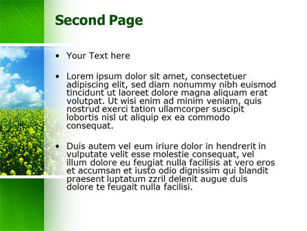 Green Field In A Sunny Day PowerPoint Template Slide 2