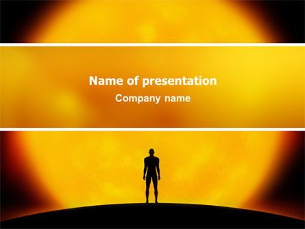 Human and Space PowerPoint Template, 02671, Technology and Science — PoweredTemplate.com