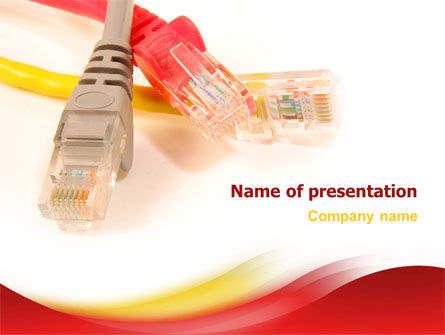 Telecommunication: Ethernet Patch Cord PowerPoint Template #02692