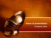 Art & Entertainment: Knight's Helmet PowerPoint Template #02695