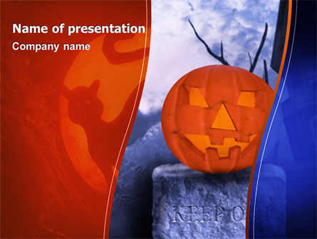 Holiday/Special Occasion: Jack-o-lantaarn In De Enge Nacht PowerPoint Template #02741