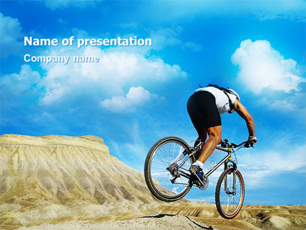Sports: Mountain Cyclist PowerPoint Template #02760