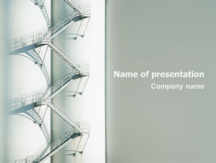 Stairway On The Industrial Column PowerPoint Template, 02768, Utilities/Industrial — PoweredTemplate.com