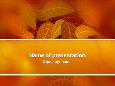 Yellow Brown Colored Leaves PowerPoint Template, 02778, Nature & Environment — PoweredTemplate.com