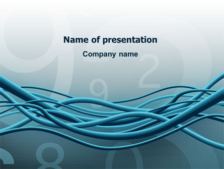 Telecommunication: Aqua Blue Wires PowerPoint Template #02781